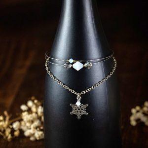 bracelet multi rang metal argenté perle verre flocon neige