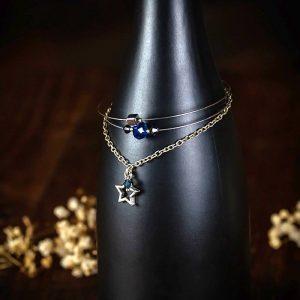 bracelet multi rang metal perle etoile verre bleu