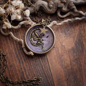 collier cercle resine bronze fée mauve