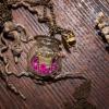 collier globe, cupcake, thé, paillettes, rose