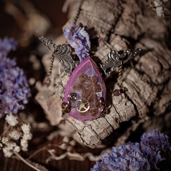 collier estampe resine fleur