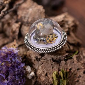 bague verre dôme quartz rouages etain soudure