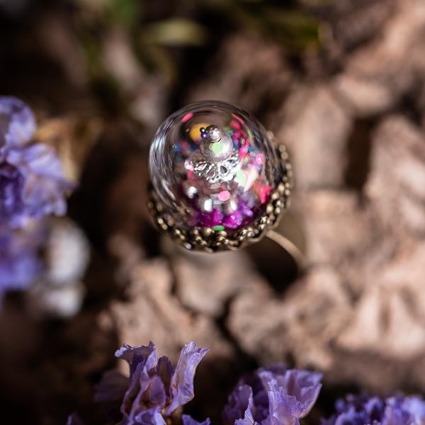 bague dome verre confetti phosphorscent perle