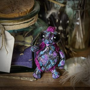 artdoll tortue pate polymere fausse fourrure galaxy galaxie mauve bleu amethyste