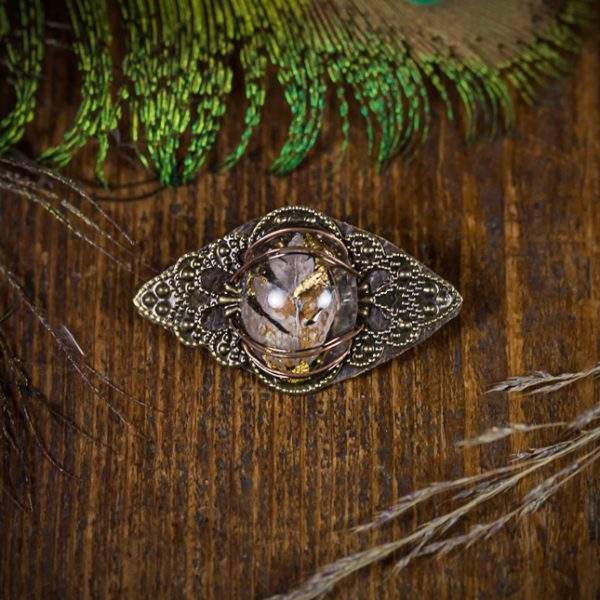 broche estampe resine fougere plante séchée bronze