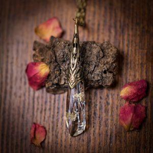 collier pendule resine fleur séchée rose bronze