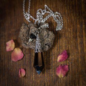 collier pendule argenté noir perle verre