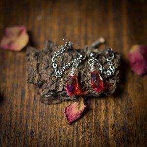 boucles d'oreilles gouttes verre rouge argent acier inoxydable