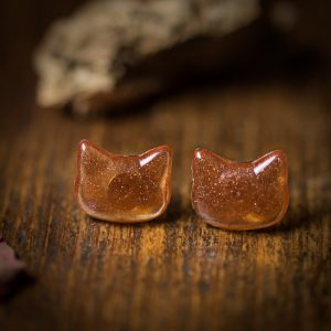 boucles d'oreilles chat resine orange