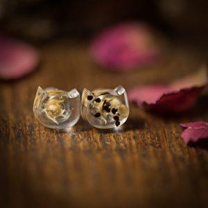 boucles d'oreilles, chat resine plantes séchées