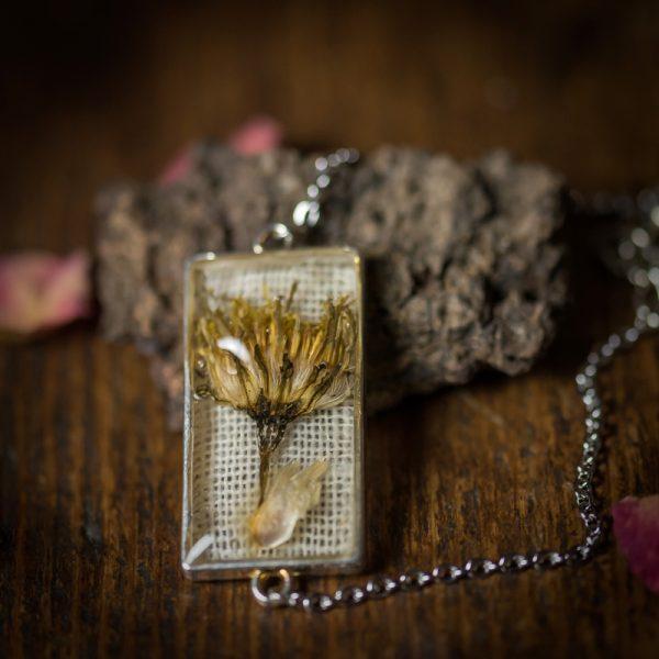 bracelet argenté fleur sechée resine lin tissu
