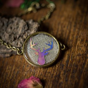 bracelet cerf holographique lin resine