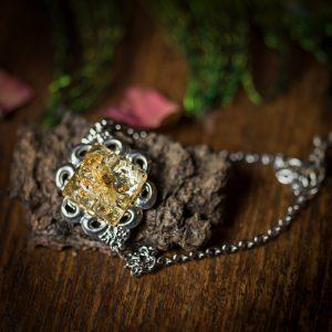 bracelet argenté estampe immortelle corse resine