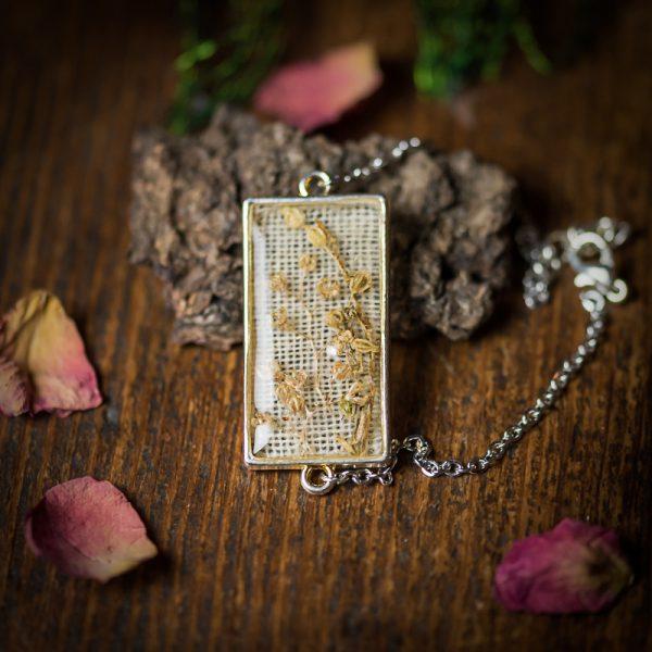 bracelet fleurs séchées resine lin argenté