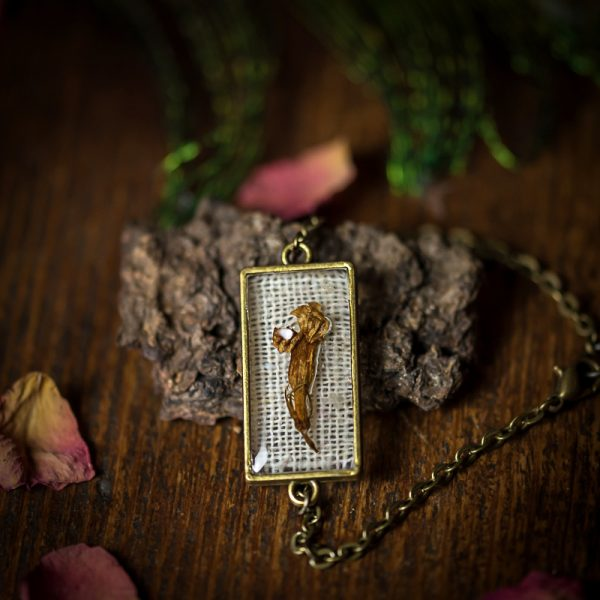 bracelet fleur séchée resine lin tissu bronze