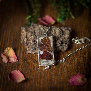 bracelet fleur séchée argenté resine lin