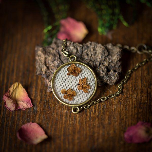 bracelet fleurs séchées lin tissu resine bronze
