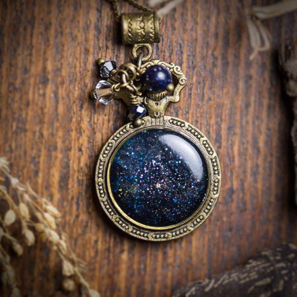 collier galaxy galaxie resine perle etoile bronze