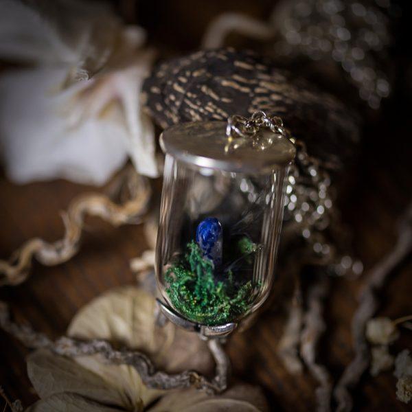 collier eprouvette verre sodalite pierre fine mousse