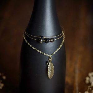 bracelet multi rangs feuille bronze noir perles verre