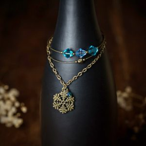 bracelet bronze flocons de neige bleu multi rangs