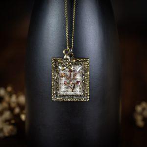 collier cadre ancien fleur séchée lin tissu bronze
