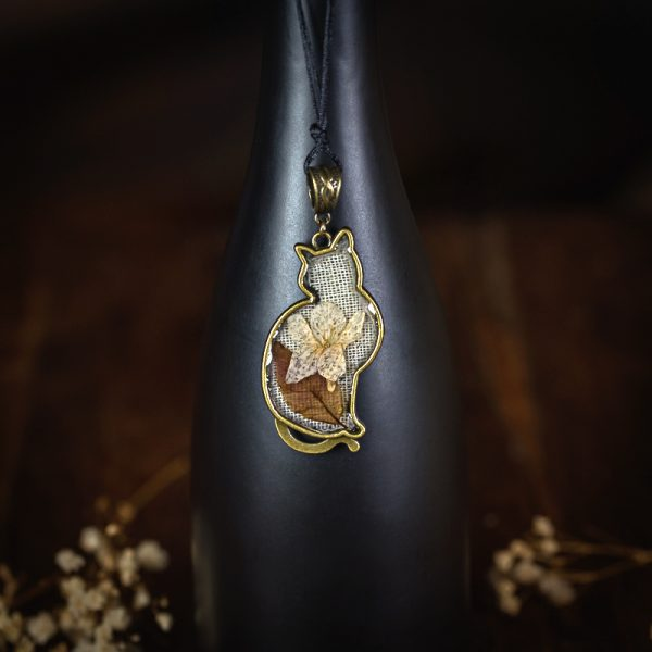 collier chat esine lin tissu nature plantes séchées fleurs