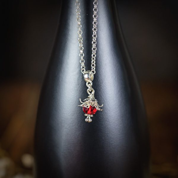 collier fleur precieuse rouge perle verre