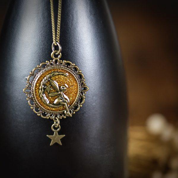 collier resine bronze paillettes fée