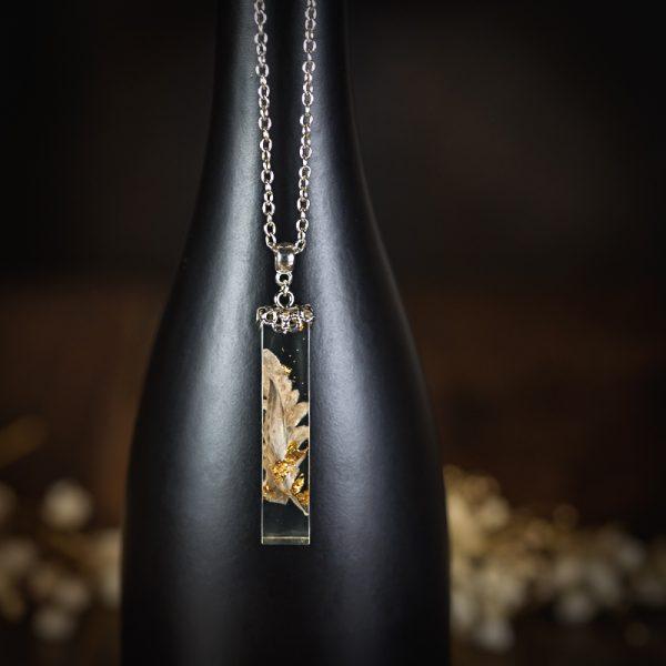 collier resine tube fougere feuilles d'or argenté