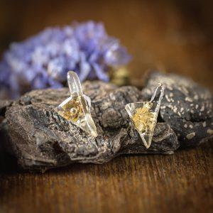 boucle d'oreille immortelle corse resine fleur séchée doré