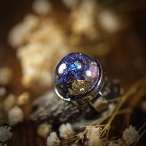 bague galaxy resine acier inoxydable bleu doré paillettes