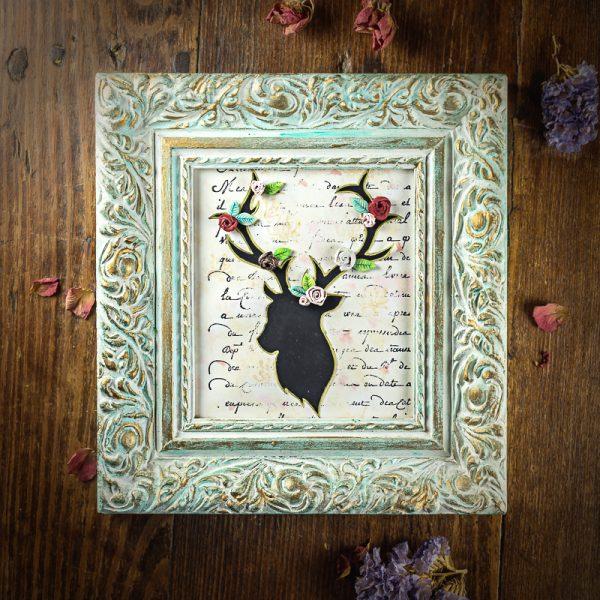cadre cerf roses vert noir dorures
