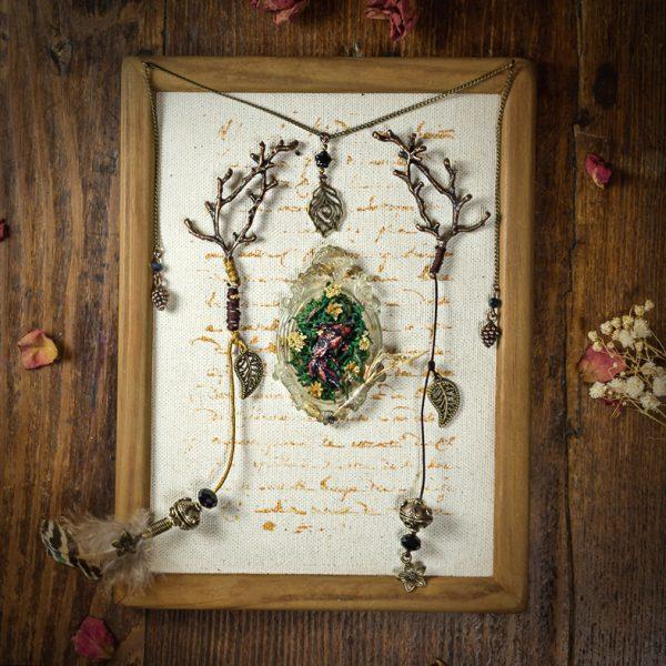 cadre bois nature poisson resine branches plumes mousse tissu