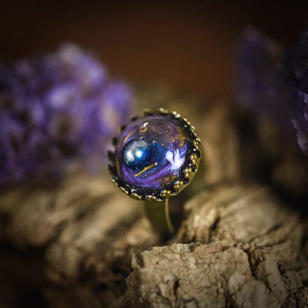 bague resine galaxie galaxy bronze bleu mauve