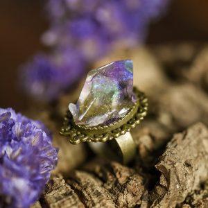bague resine cristal bronze amethyste