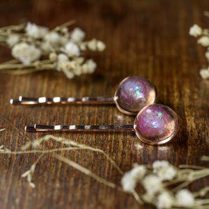barrettes cheveux resine rose gold paillettes
