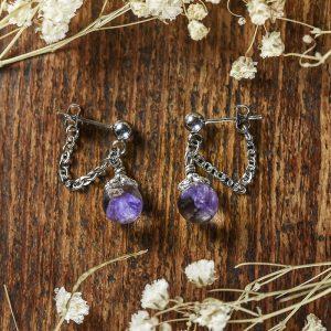 boucles d'oreilles fleurs séchées resine sphere acier inoxydable chaine